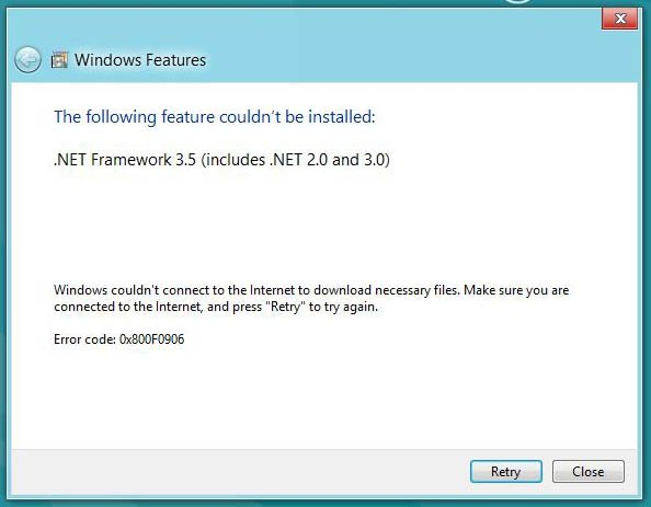 Fix Error Code 0x800f0906