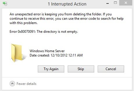 How to fix error 0x80070091