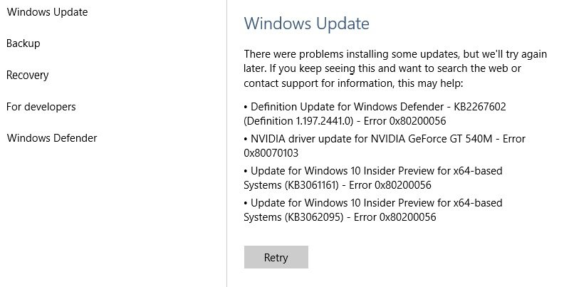 How to fix error 0x80200056 update for Win10