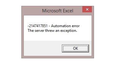 How to fix error -2147417851
