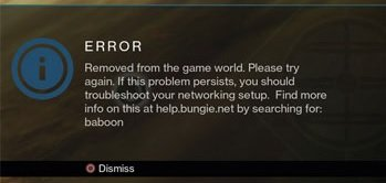 How to fix error code baboon Destiny