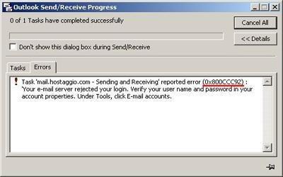 error 0x800ccc0e