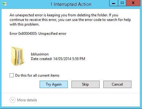 0x80004005 unspecified error » Error Code Info